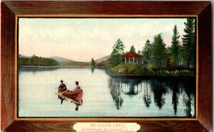 2078-Vintage-Postcard-Loon-Lake-Adirondack-Mountains-NY-Canoe-Wood-Border-1911