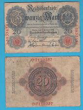 GERMANIA BANCONOTA 20 MARK MARCHI BERLINO REICH BERLIN 1914 DISCRETA CIRCOLATA