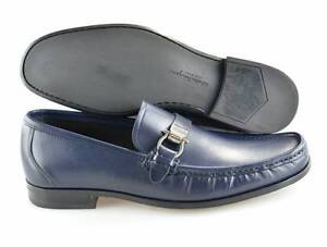 9f67eb042be Men s SALVATORE FERRAGAMO  Muller  Navy Blue Leather Loafers Size US ...