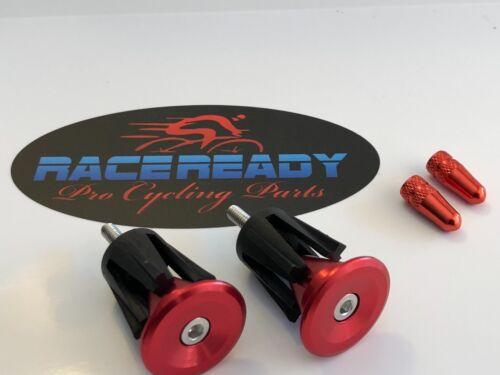 2 Presta Valve Caps. 1 pair  RACEREADY..Alloy Handlebar End Caps MTB ...Red