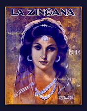 LA ZINGA Gypsy Princess 8x10 vintage sheet music cover Art Deco gipsy print