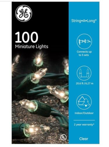 GE 100 Clear Miniature Lights On Green Wire String-A-Long 20.6 Feet. 4 Pack