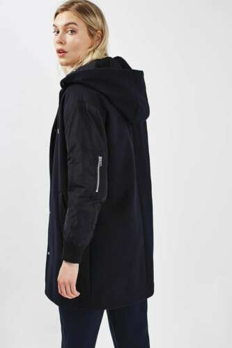 Us4 5045433990905 Størrelse Topshop Hooded Black Uk8 Eur36 Coat nTqvRPzq
