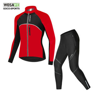 Winter-Mens-Cycling-Jacket-amp-Pants-Set-Fleece-Thermal-Bike-Jersey-Bicycle-Trousers