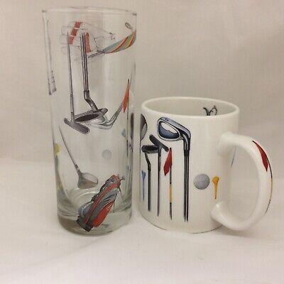 GOLFERS  MUG AND MATCHING TALL HIGHBALL GLASS