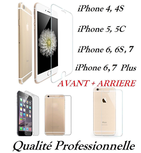 Vitre-protection-VERRE-Trempe-AVANT-ARRIERE-face-et-dos-iPhone-4-5-6-7-6