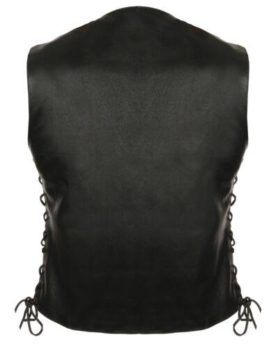 Ladies 6 Pocket Side Lace Leather Motorcycle Vest w// 2 Gun Pockets 1 Panel Back