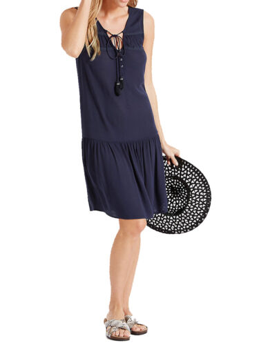 beach dress tie neck detail sizes 12 to 22 Ex M /& S navy crinkle woven summer