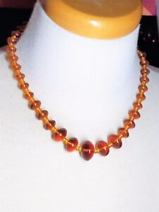 Amber-Color-Vintage-Glass-Bead-Necklace
