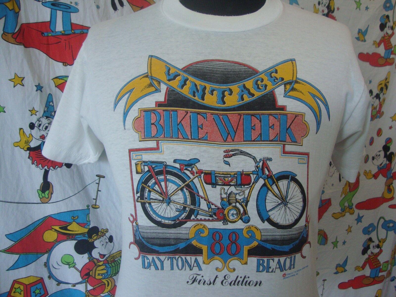1988 Vintage Daytona Beach Bike Week Motorcycle MC Cycle Biker thin T Shirt L
