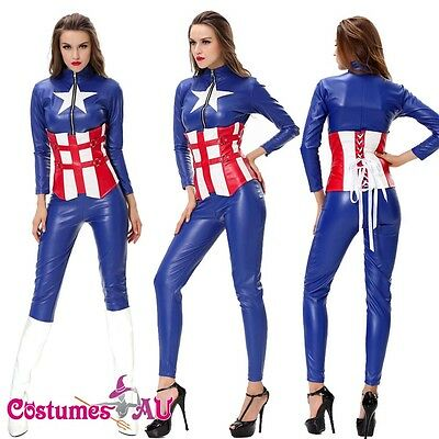 Ladies American Captain Costume Superhero Halloween Fancy Dress Outfits