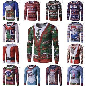 Herren-Christmas-Baum-3D-Printed-Langarm-Weihnachten-T-Shirt-Tops-Hemd-Shirt-L-P
