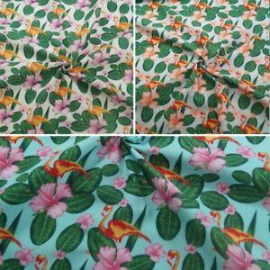Tessuto-in-policotone-Flamingo-Animale-Giungla-Tropicale