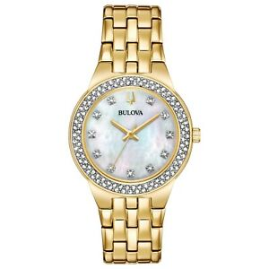 Bulova-Women-039-s-Quartz-Crystals-33mm-Watch-Gold-Tone-Pendant-Box-Set-98X116