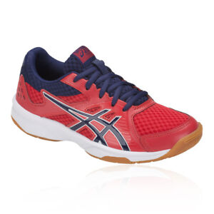 Asics Boys Gel-UpCourt 3 GS Junior Indoor Court Shoes Blue Red Sports Trainers