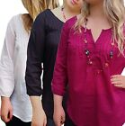 Women's UK PLUS Size 10-20 PinTuck Blouse Tunic Top, Black Pink or Off-white