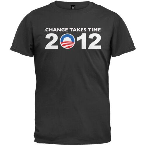Obama 2012 Change Takes Time Black Adult Mens T-Shirt