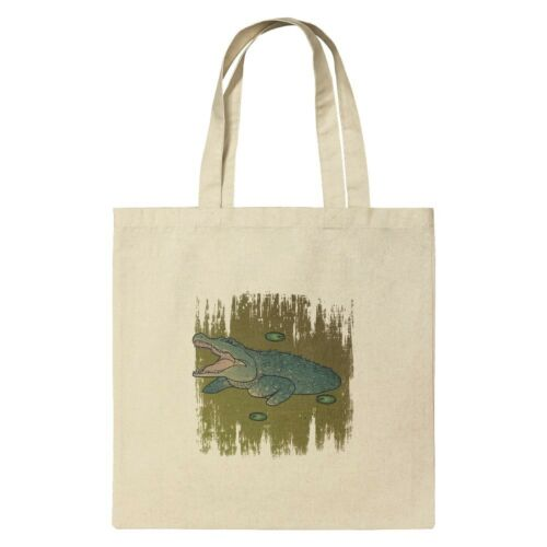 Alligator in Swamp with Lily Pads Grocery Travel Reusable Tote Bag