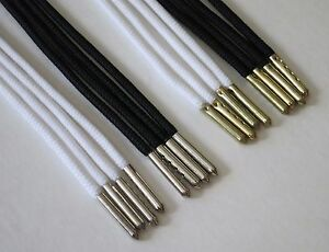 Flat Black Shoe Laces With Metal Aglets
