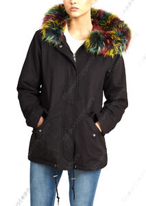 NEW Womens Oversized Hood Multi Fur Parka Coat Ladies Black Jacket ...