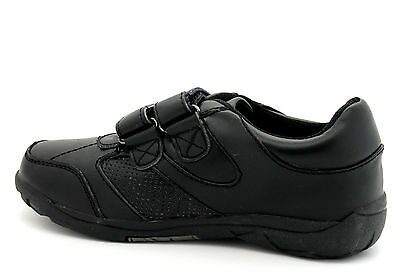 Gola Infant Kids Boys Black Touch Riptape Strap Leather Coated School Shoes