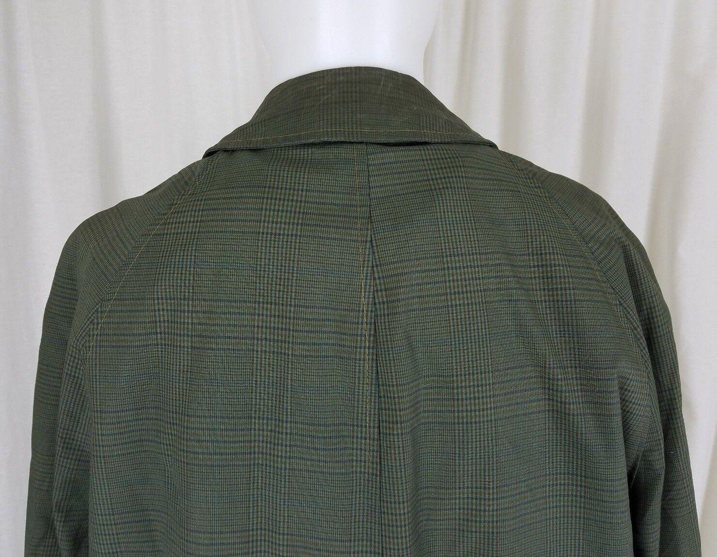 Vintage Grün Kariert 70s Jahre Isoliert Isoliert Isoliert Tief Flor Pelzfutter Schlitz Trenchcoat   Exquisite Verarbeitung  15d607