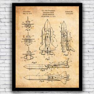 s l300 nasa space ship shuttle patent diagram wall art print (w optional