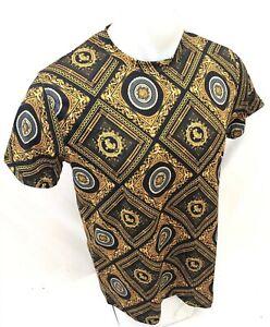Homme-prestigieux-a-manches-courtes-Black-Gold-Medusa-Head-Silky-Shirt-Leaf-101-nouveau