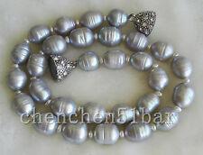 kultiviert große 10-11mm graue Süßwasser-Perlenkette 17-Zoll-Magnetverschluss