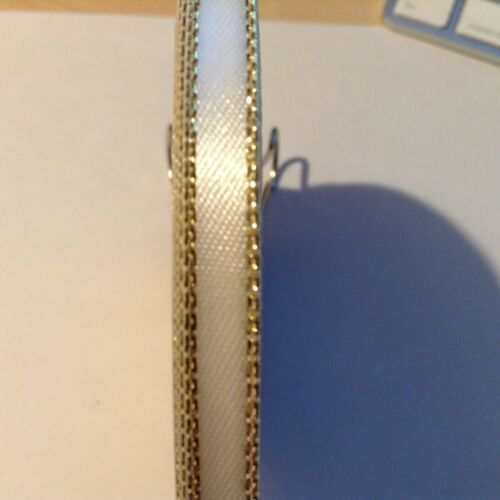 6mm X 2m marfil borde dorado doble cara cinta de satén de poliéster.