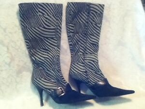 Italy-Bruno-Magli-Vero-Zebra-Calf-or-Pony-Hair-8-5-39-Buckle-4-034-Heel-Point-Boots