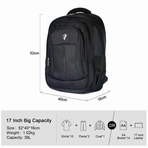 17 inch Mens Waterproof Laptop Backpack Computer Outdoor Travel School Bag Black