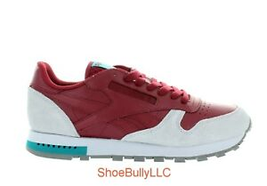 MEN S REEBOK CL LEATHER GREY CLASSIC BD4413 BURGUNDY CLOUD BRAND NEW ... 3c5a7fc55
