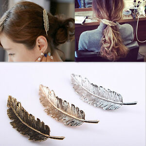 Women-039-s-Leaf-Feather-Hair-Clip-Hairpin-Barrette-Bobby-Pin-Hair-Accessories