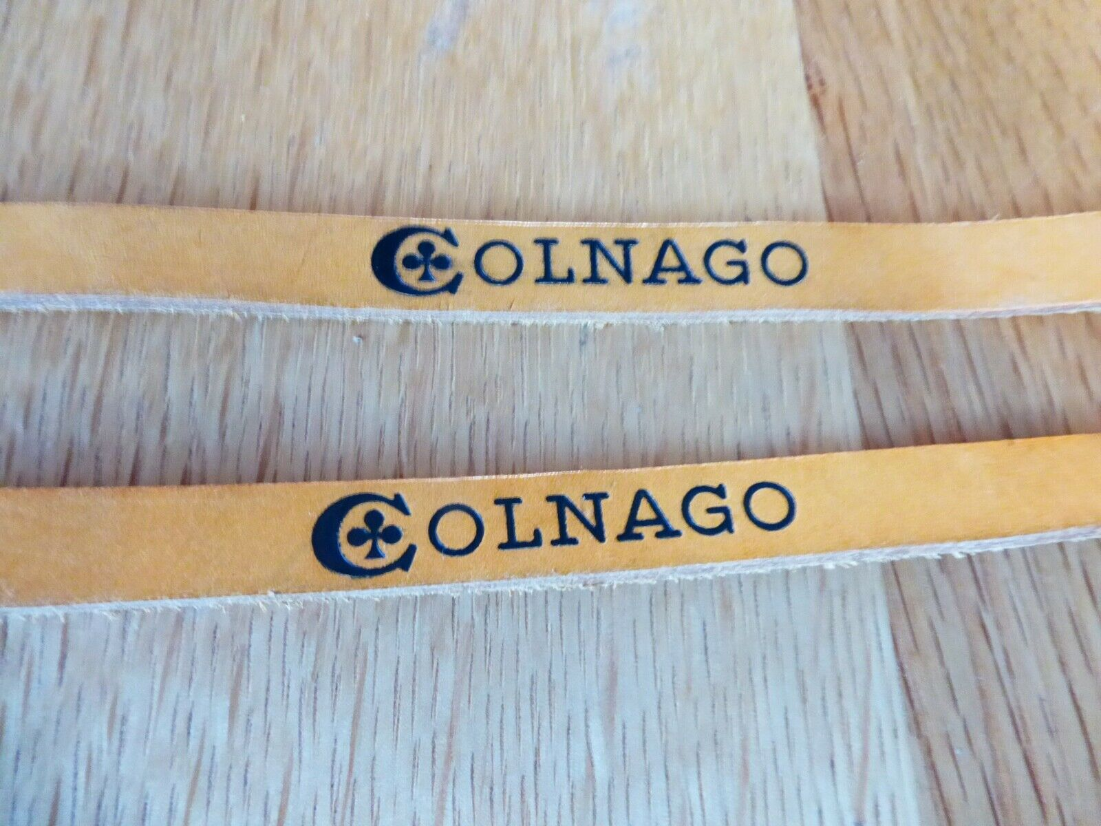 RARE PAIR OF  COLNAGO braun   TAN LEATHER TOE STRAPS NEW OLD STOCK