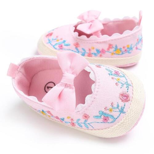 Newborn Girls Kids Baby Soft Sole Crib Sneakers Prewalker Floral Shoes Sandals