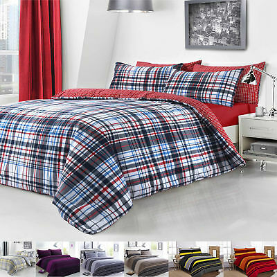 Striped Bedding Duvet Cover Set With Pillow Cases Double Single Super King Size