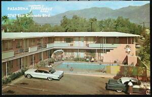PASADENA-CA-Travelodge-Motel-Vintage-1950-039-s-Cars-Postcard-Old-Calif-Route-66-PC