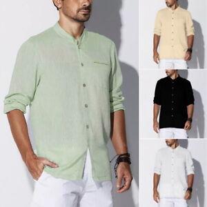 Herren-Freizeithemd-Baumwolle-Leinenhemd-Langarm-Slim-Stehkragen-Shirt-Top