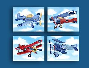 Image Is Loading Boy Airplane Nursery Art Vintage Bedding Print