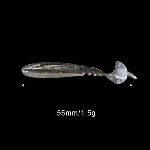 55mm 1.5g Soft Fishing Lures Set Silicone Baits Shiner Grub Worm Bait Tackle