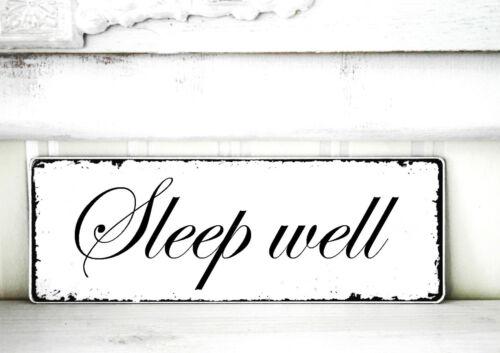 Shabby Schild Vintage SLEEP WELL  Nostalgie weiß Tafel