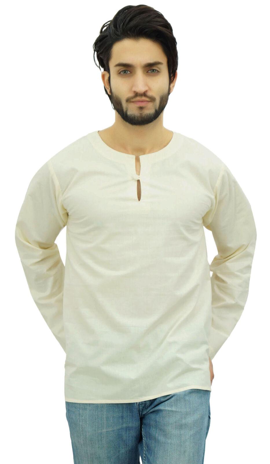 Atasi Men's Off White Short Kurta Round Keyhole Neck Cotton Shirt-Small-G7A