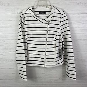 Bagatelle Women's Moto Jacket Striped Side Zip Up Black White Size PL