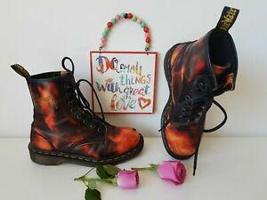 Dr Martens 1460 8 eye boots rub acid fire england flames red UK 3 EU 36 US 5