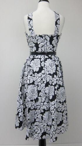 Bernie Dexter Goddess Pin Up Swing Dress Black//White Damask  New