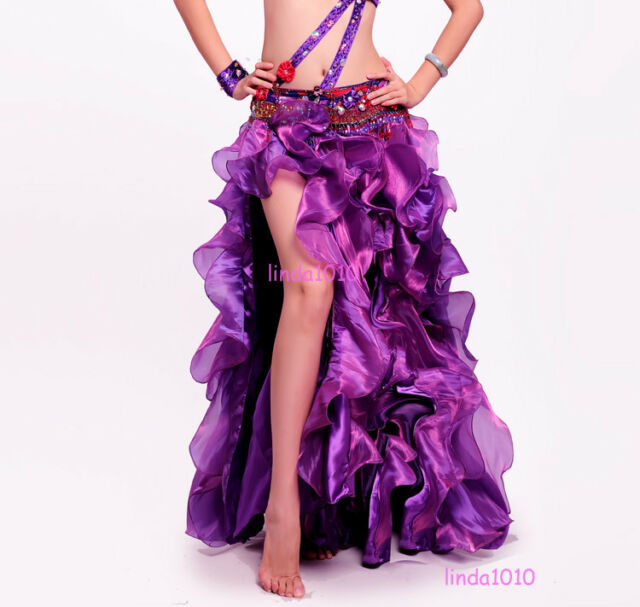New Professional Belly Dance Costume Waves Skirt Dress with slit Skirt Purple