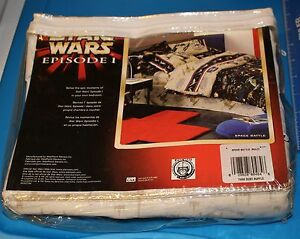 Star-Wars-Episode-I-SPACE-BATTLE-TWIN-Dust-Ruffle-Bed-Skirt-NEW