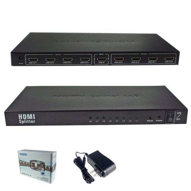 1x8 HDMI Splitter Adapter 1 to 8 for Full HD 1080P HDTV 3D 8 Port 1.3 version