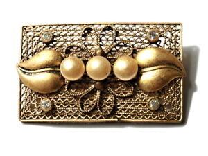 3287311ff Image is loading Vintage-Art-Deco-Czech-filigree-wirework-pin-brooch-